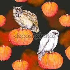 fun halloween repeating background owl on pumpkin halloween watercolor repeating background u2014 stock