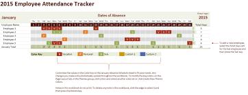Vacation Tracking Spreadsheet 2015 Employee Attendance Tracking Calendar