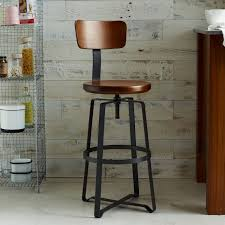 Bar Stool Chairs With Backs Adjustable Rustic Industrial Stool With Back West Elm
