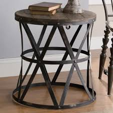 Accent Side Table Casual Wood Top Accent Table Features An Industrial Metal