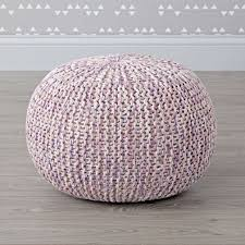 melange knit lavender pouf the land of nod