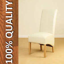 Scroll Back Leather Dining Chairs Pair Faux Leather Dining Chairs Scroll High Back Seat Roll Top