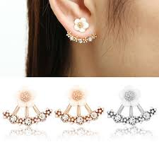 stud ear flower 925 silver needle ear stud earrings for