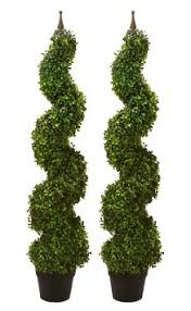 buy two pre potted 47 artificial outdoor indoor spiral boxwood