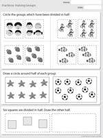 halving groups mathematics skills online interactive activity