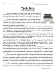 fifth grade reading comprehension worksheet the old castle