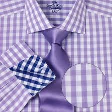 savile row mens lilac white gingham fitted dress shirt cutaway
