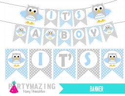 owls baby shower boy baby blue owl baby shower set printable baby shower