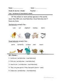 Free Printable Worksheets Vertebrates Invertebrates | vertebrate invertebrate scienze pinterest worksheets