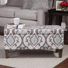 classic contemporary blue grey damask upholstered storage ottoman