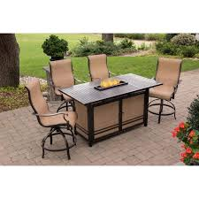 Patio Furniture With Fire Pit Set - monaco 5 piece high dining bar set with 30 000 btu fire pit bar