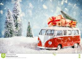 volkswagen christmas beautiful christmas bus in snowy landscape stock illustration
