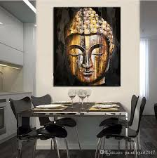 modern asian decor top quality hand painted goldern buddha face painting modern asian