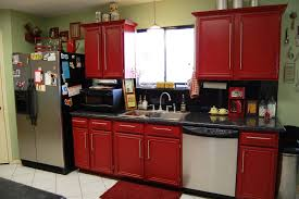 stylish red kitchen cabinets in home decor concept with red