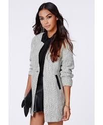 petera tweed boyfriend coat with faux leather trim