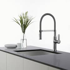 kitchen faucet kraususa com kraus nola 8482 single lever flex commercial style kitchen faucet