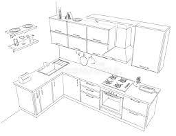 dessiner une cuisine en 3d esquissez le dessin de découpe de noir et blanc intérieur de la