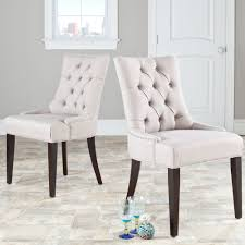 safavieh en vogue dining abby taupe linen dining chairs set of 2