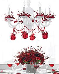 How To Decorate A Chandelier With Beads Christmas Table Ideas Decorating With Red And White