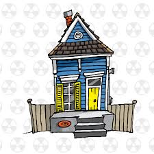 new orleans blue shotgun style house vector clipart by