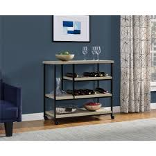 altra furniture elmwood sonoma oak serving cart with slatted shelf