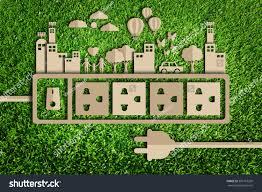 energy saving concept paper cut eco stock illustration 381767209