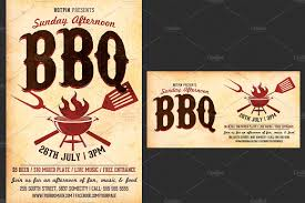 bbq tickets template barbecue bbq flyer template flyer templates creative market