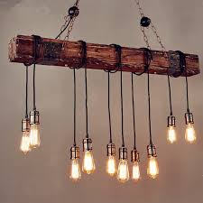 iwhd 10 heads wood vintage lamp loft style industrial pendant