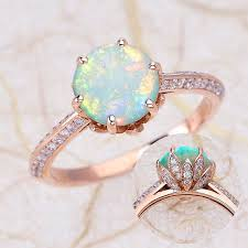 lotus flower engagement ring gold engagement rings opal engagement ring lotus flower