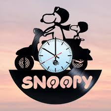 snoopy and charlie brown handmade vinyl record wall clock fan gift