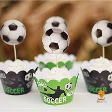 football cake toppers 24pcs soccer football cupcake wrapper kids birthday