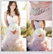 plus size blush wedding dresses 2017 blush pink belt organza bridal gown lace up backless