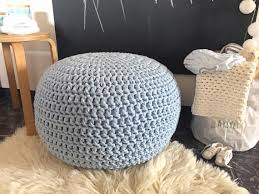 Ottoman Knitted Light Blue Crochet Pouf Knit Ottoman Nursery Footstool Crochet