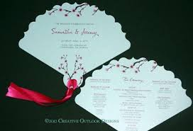 Fan Style Wedding Programs Japanese Cherry Blossom Flower Theme Wedding Ceremony Fan Program