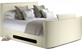 Ottoman Tv Bed Ivory Cream New York Tv Bed Double Ivory Cream Leather