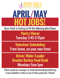 under the table jobs in boston april may jobs open table
