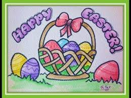 easter stuff how to draw easter stuff eggs in basket easy step by step or