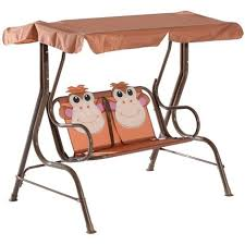 hammock bench homcom kids 2 seater patio monkey print swing chair metal seat
