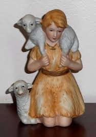 shepherd boy lambs porcelain figurine homco 5603 nativity scene