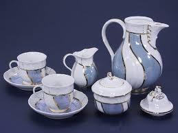 Coffee Set blue white stripped china coffee set slovak import company