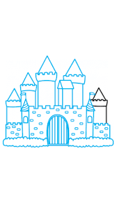 coloring extraordinary easy draw castle logo kids