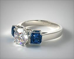 blue engagement rings 11152w14 three princess shaped blue sapphire engagement