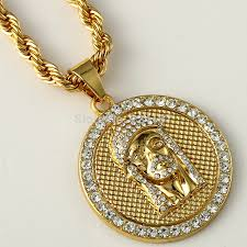 jesus necklace images Fashion gold filled crystal jesus piece pendant necklace for men jpg