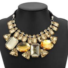 chunky necklace chain images Luxury big crystal statement geometry ribbon chain chunky necklace jpg