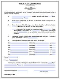 free new mexico affidavit of heirship heirs form pdf word