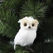 raz flat white feathered owl decoration white made of