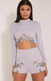 prettylittlething womens ladies angie floral embroidered high