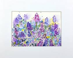 lavender art lavender watercolor lavender painting original
