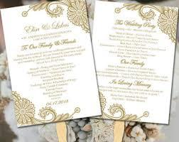 bling wedding programs wedding fan template diy ceremony program fan program