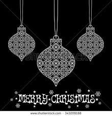 Decorative Christmas Ornaments by Merry Christmas Happy New Year 2017 Stock Vector 496949956